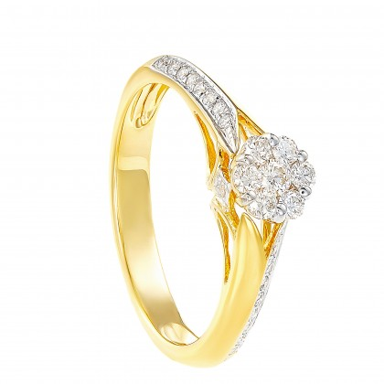 Adore Cluster Set Round Diamond Ring in 750/18K Yellow Gold 23511