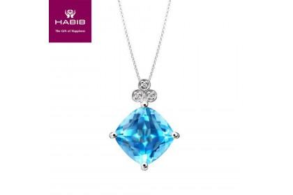 Shaylee Blue Topaz Diamond Necklace