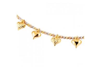 Oro Italia 916 Amore White, Yellow and Rose Gold Bracelet (9.30G) GW3591-TI