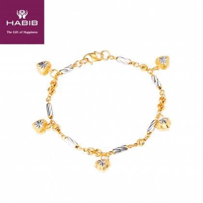 Adelyna White and Yellow Gold Bracelet, 916 Gold (7.00G) 3122(J)
