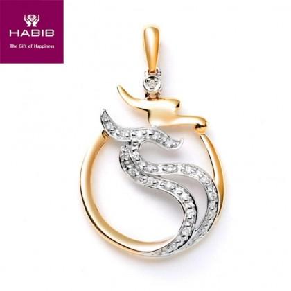 Dalupiri Diamond Pendant in 375/9K White and Yellow Gold 34972