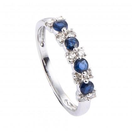 Blue Sapphire Diamond Ring in 375/9K White Gold 25111-BS