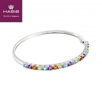 Fabulous Gemstone Bangle in 375/9K White Gold 24911(B)