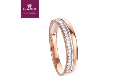 Double Row Diamond Ring in 375/9K Rose Gold