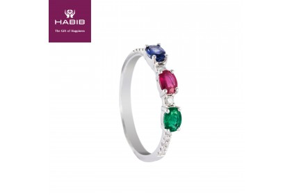 Three Gemstone Diamond Ring