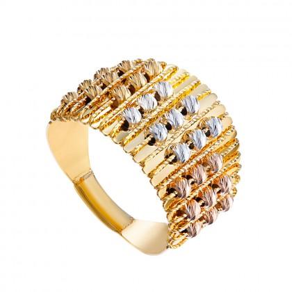 Oro Italia 916 Sicilia White, Yellow and Rose Gold Ring (6.27G) GR44331120-TI