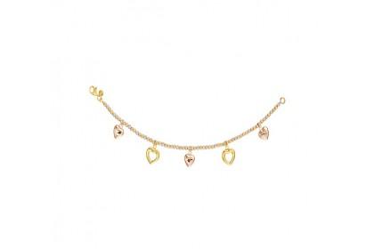 Oro Italia 916 Amore White, Yellow and Rose Gold Bracelet (9.23G) GW3592-TI