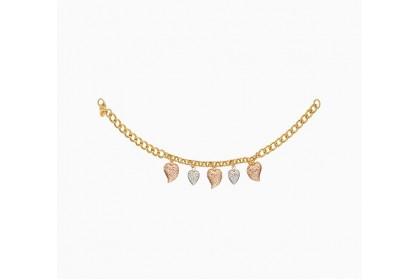 Oro Italia 916 Amore White, Yellow and Rose Gold Bracelet (7.50G) GW3572-TI