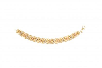 Oro Italia 916 White, Yellow and Rose Gold Bracelet (24.93G) GW3336-TI