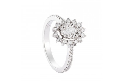 Sunflower White Gold Diamond Ring