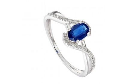Fancy Twisted Blue Sapphire Diamond Ring