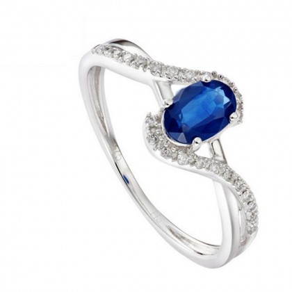 Fancy Twisted Blue Sapphire Diamond Ring in 375/9K White Gold 24887