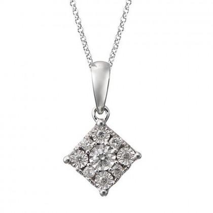 Square Illusion Diamond Necklace in 375/9K White gold  24527(N)