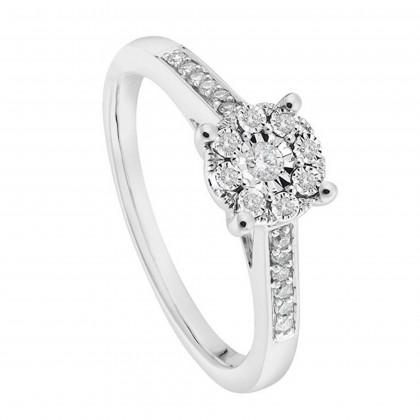 Iris Diamond Ring in 375/9K White Gold 24616