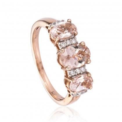 Forever Mine Morganite Diamond Ring in 375/9K Rose Gold 24637