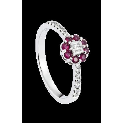 Augustus Ruby Diamond Ring in 375/9K White Gold 25814(R)-RY