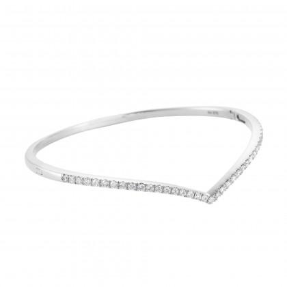 V-Shape Diamond Bangle in 375/9K White Gold 25797(B)
