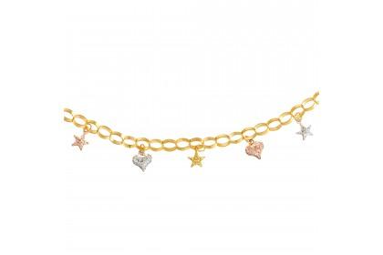 Oro Italia 916 Amore White, Yellow and Rose Gold Bracelet (6.97G) GW36861120-TI