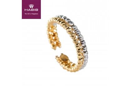 Oro Italia 916 Stella White and Yellow Gold Ring (2.74G) GR4386-BI