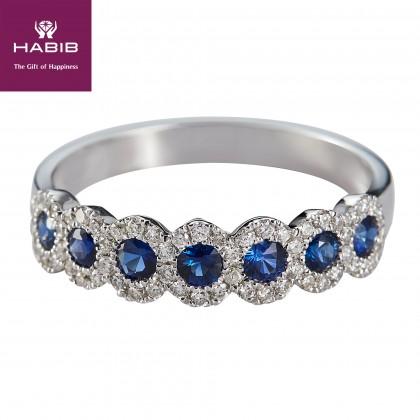 Anais Blue Sapphire Gemstone Diamond Ring in 375/9K White Gold 259120920-BS
