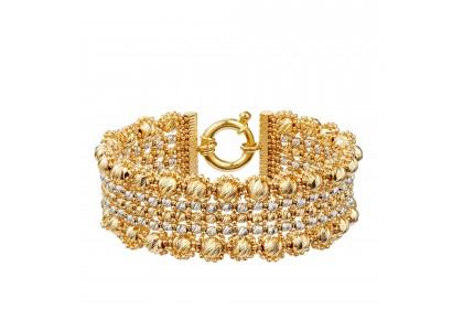 Oro Italia 916 Stella White and Yellow Gold Bangle (38.79G) GB86560220-BI
