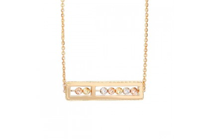 Oro Italia 916 Abacus White, Yellow and Rose Gold Necklace (7.98G) GC25450121-TI