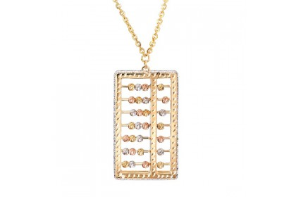 Oro Italia 916 Abacus White, Yellow and Rose Gold Necklace (18.67G) GC25470121-TI