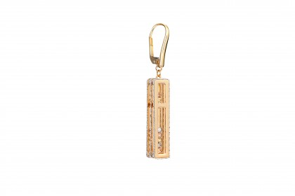 Oro Italia 916 Abacus White, Yellow and Rose Gold Earrings (11.63G) GE71650121-TI