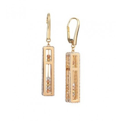 Oro Italia 916 Abacus White, Yellow and Rose Gold Earrings (11.33G) GE71650121-TI