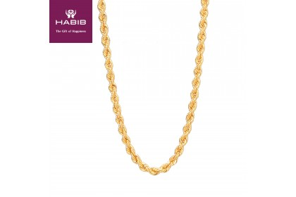 Rope Hollow Gold Necklace, 916 Gold (11.44G) GC004