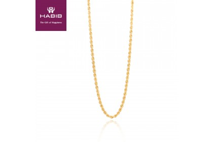 Rope Hollow Gold Necklace, 916 Gold (13.16G) GC004