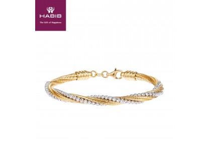Oro Italia 916 Cavo White and Yellow Gold Bangle (17.82G) GB8605-BI