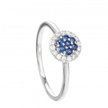 Sweet Blue Sapphire Gemstone Diamond Ring in 375/9K White Gold 259581120(R)-BS