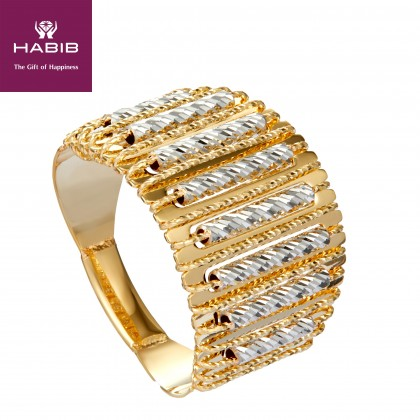 Oro Italia 916 Sicilia White and Yellow Gold Ring (6.26G) GR4267-BI