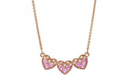 Triple Love Pink Sapphire Gemstone Necklace 259351120(N)