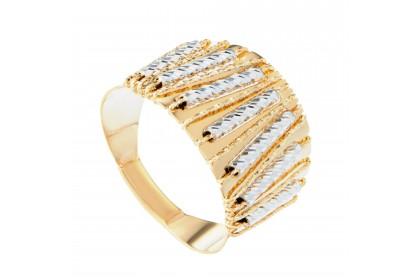 Oro Italia 916 Sicilia White and Yellow Gold Ring (6.09G) GR4262-BI