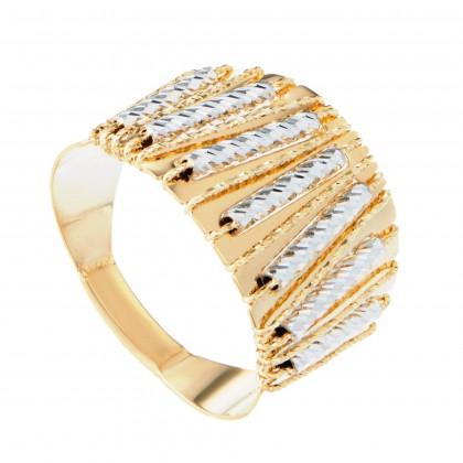 Oro Italia 916 Sicilia White and Yellow Gold Ring (6.05G) GR4262-BI