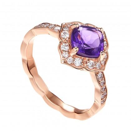 Amethyst Diamond Ring in 375/9K Rose Gold 259960221