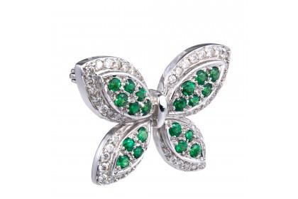 Tsavorite Butterfly Brooch in 750/18K White Gold