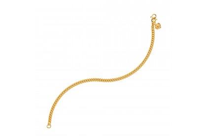 Sauh Lama Kosong Bold Heart Shape Baby Gold Anklet, 916 Gold (3.38G) GA0611020