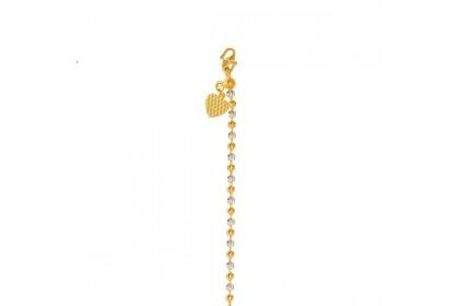 Biji Sawi White and Yellow Gold Bracelet, 916 Gold (10.03G) 619A(GW)