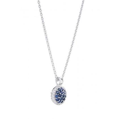 Blue Sapphire Gemstone Diamond Necklace in 375/9K White Gold 259581120(N)-BS