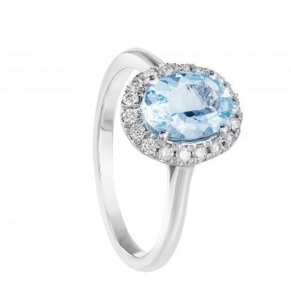 Aquamarine Oval Cut Halo Diamond Ring 260120321