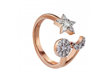 Young Collection Split-shank Round Diamond Ring in 375/9K Rose Gold  258960820