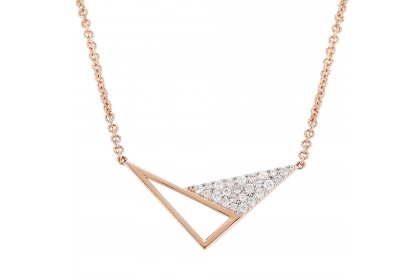 Young Collection Round Diamond Necklace in 375/9K Rose Gold 557960820