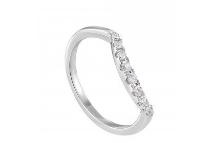 Young Collection Freeform-Shank Round Diamond Ring in 375/9K White Gold 258870820