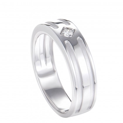 Solitaire Diamond Men's Ring in 925/ Palladium A05660121(PLD)
