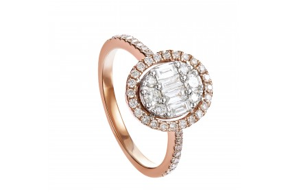 Round and Baguette Diamond Ring in 375/9K White and Rose Gold 259110920(R)