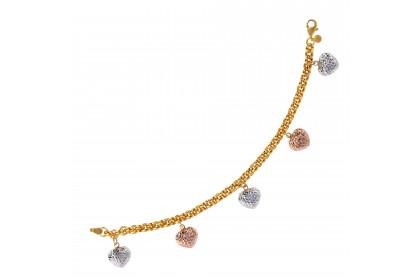Oro Italia 916 Amore White, Yellow and Rose Gold Bracelet (12.94G) GW3398-TI
