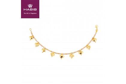 Oro Italia 916 Amore White, Yellow and Rose Gold Bracelet (9.85G) GW3591-TI